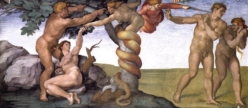 Expulsión del Edén, por Miguel Ángel