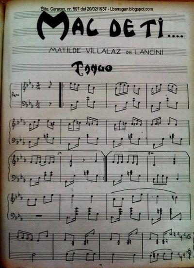 Reproducción de una partitura publicada en la revista Élite (Caracas, Nº 597 del 20 de febrero de 1937).