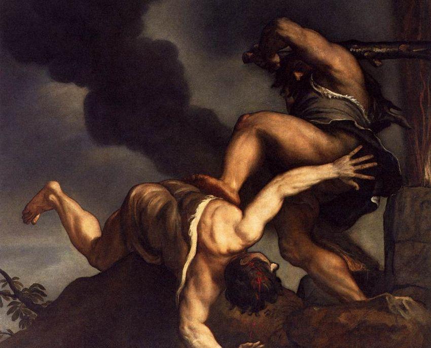 Caín y Abel, por Tiziano