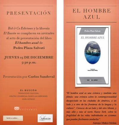"""Presentación de """"El hombre azul"""", de Pedro Plaza Salvati"""