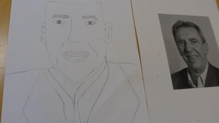 Dibujo de Jean Pierre Sauvage realizado por la estudiante búlgara Denis Barova