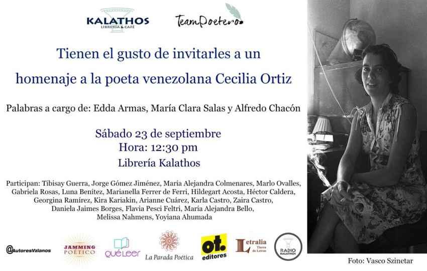 Homenaje a Cecilia Ortiz en la librería y café Kalathos, en Caracas