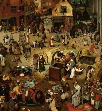 """""""El combate entre don Carnal y doña Cuaresma"""" (1559), de Pieter Brueghel el Viejo"""