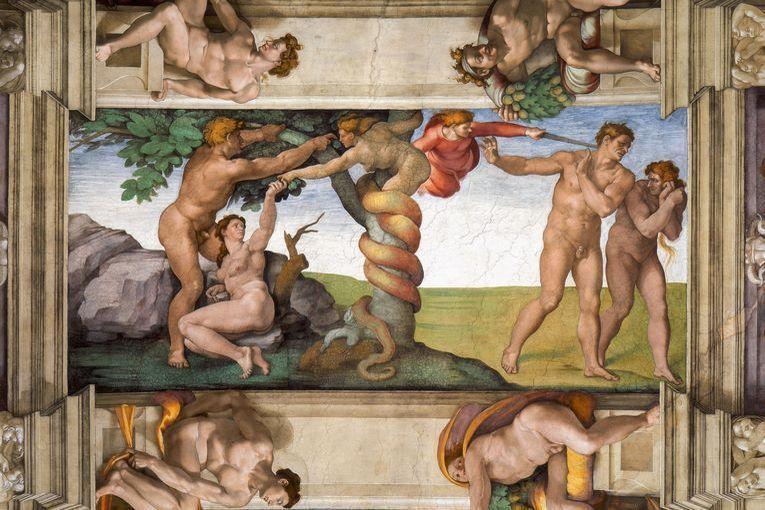 """""""Expulsión del Paraíso"""", por Miguel Ángel (circa 1509)"""