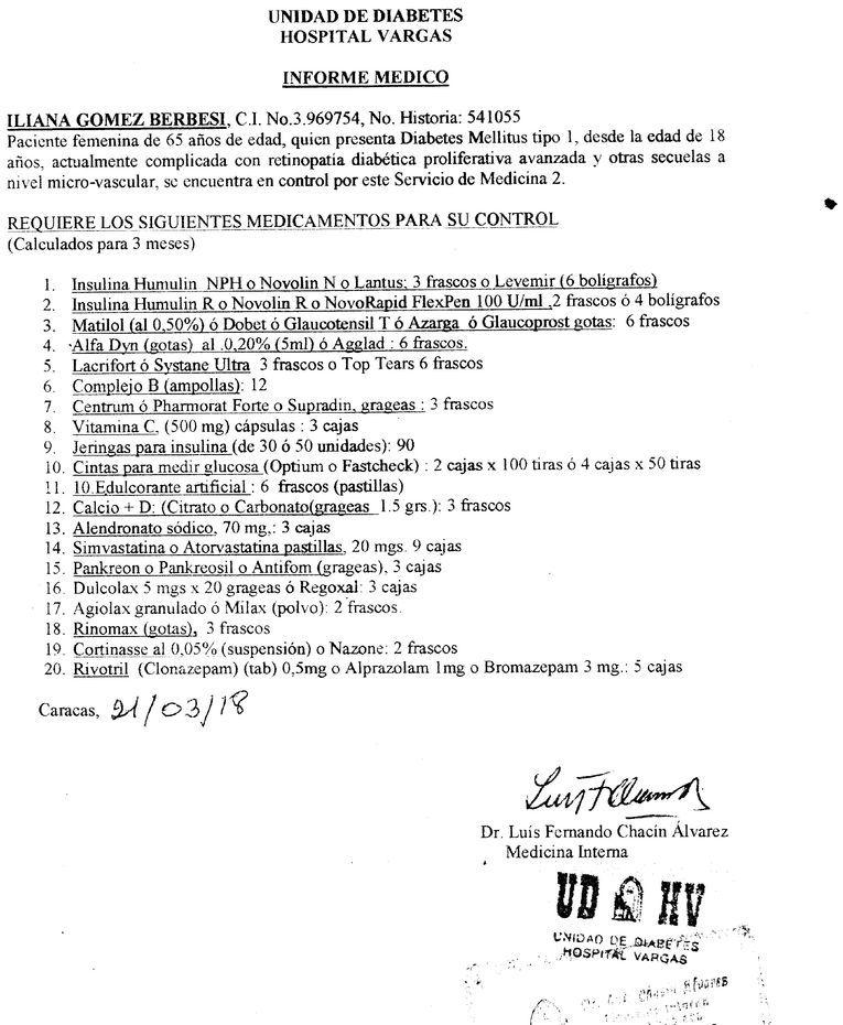 Informe de la Unidad de Diabetes del Hospital Vargas
