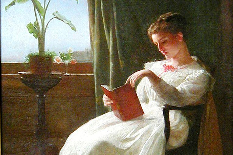 """Detalle de """"American Girl Reading"""" (1872), de George Cochran Lambdin (1830-1896)"""