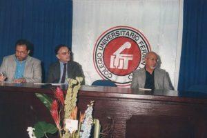 De izquierda a derecha, Julio Bolívar, Eugenio Montejo y Reinaldo Chaviel