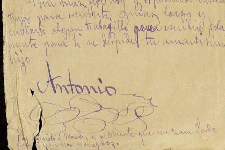 """Fragmento de la carta de Antonio Machado incluida en la muestra """"Los Machado vuelven a Sevilla""""."""