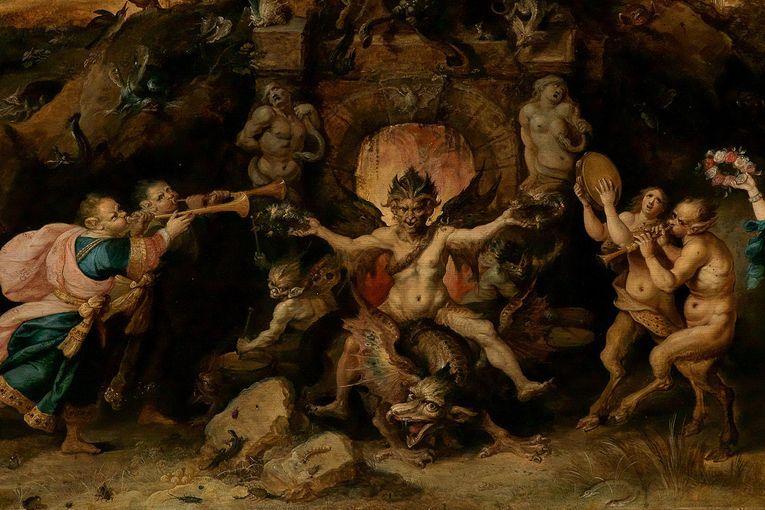 """Detalle de """"El dilema eterno de la humanidad: la elección entre la virtud y el vicio"""" (1633), por Frans Francken el Joven"""