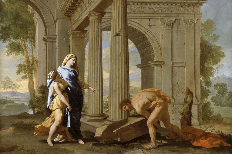 """""""Teseo encuentra la espada de su padre"""", de Nicolas Poussin (1638)"""