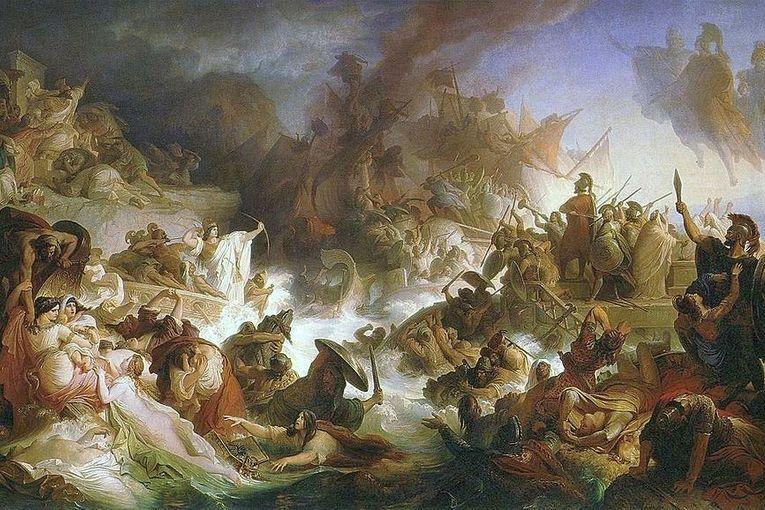 """La batalla de Salamina"" (1868), de Wilhelm von Kaulbach"
