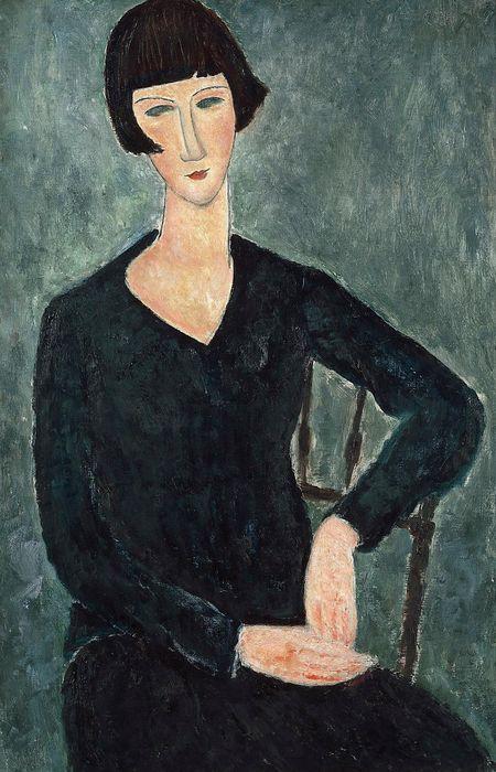 """Mujer sentada vestida de azul"" (1917-1919), de Amedeo Modigliani"