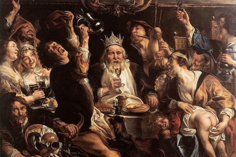 """El rey bebe"" (1640), de Jacob Jordaens"