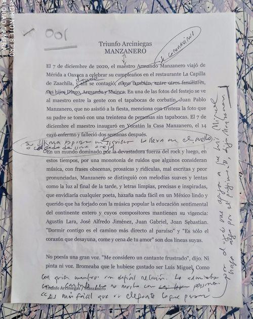 Manzanero, por Triunfo Arciniegas