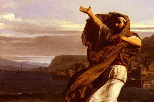 """""""Demóstenes ejercitándose en la declamación"""", por Lecomte de Leouy"""