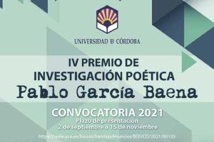"""IV Premio de Investigación Poética """"Pablo García Baena"""""""